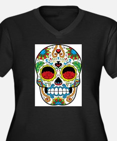 White Sugar Skull with Roses in Eye Sockets Plus S