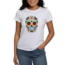 White Sugar Skull with Roses in Eye Sockets T-Shir