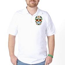 White Sugar Skull with Roses in Eye Sockets T-Shirt