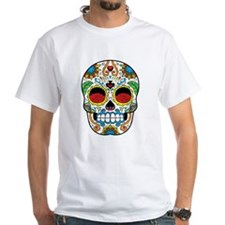 White Sugar Skull with Roses in Eye Sockets T-Shir