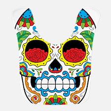 White Sugar Skull with Roses in Eye Sockets Bib