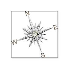Silver Metallic Compass Points Sticker