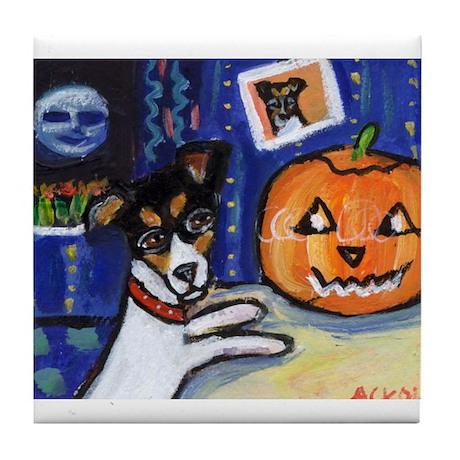 Rat Terrier Halloween Tile Coaster