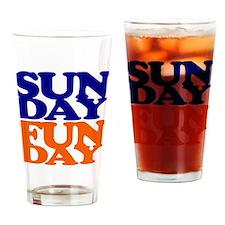 Sunday Funday Orange And Blue Drinking Glass