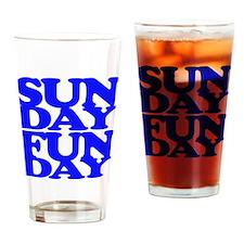 Sunday Funday Blue Drinking Glass