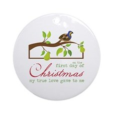 First Day Of Christmas Ornament (Round)