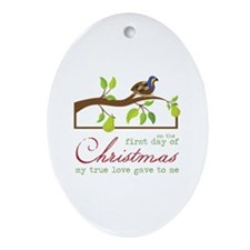 First Day Of Christmas Ornament (Oval)