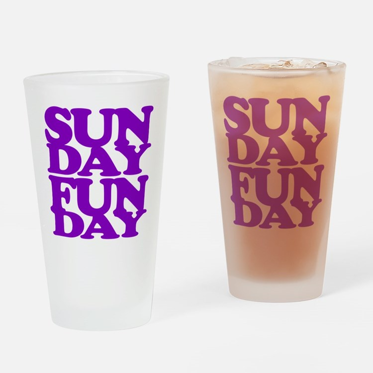 Sunday Funday Purple Drinking Glass