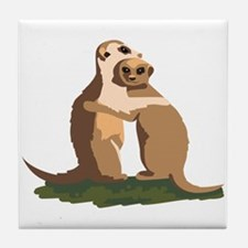 Meerkat Couple Tile Coaster