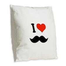 I love mustache Burlap Throw Pillow