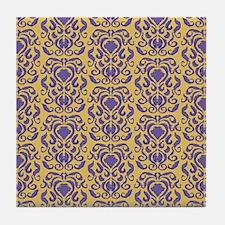 Damask pattern iris venetian gold square Tile Coas