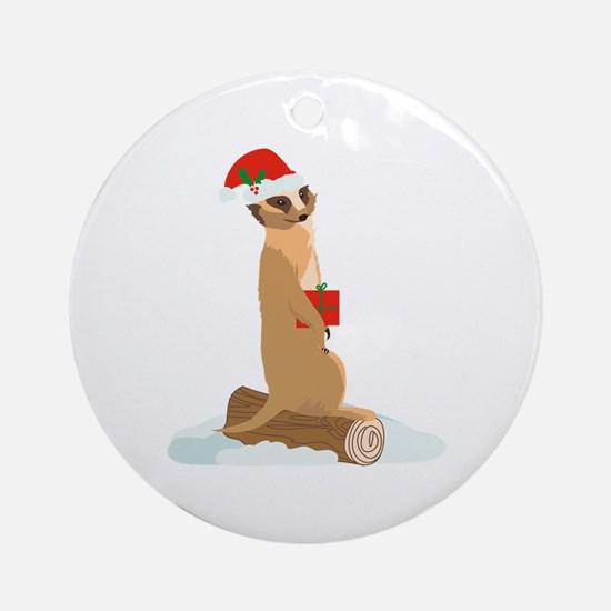 Christmas Meerkat Ornament (Round)