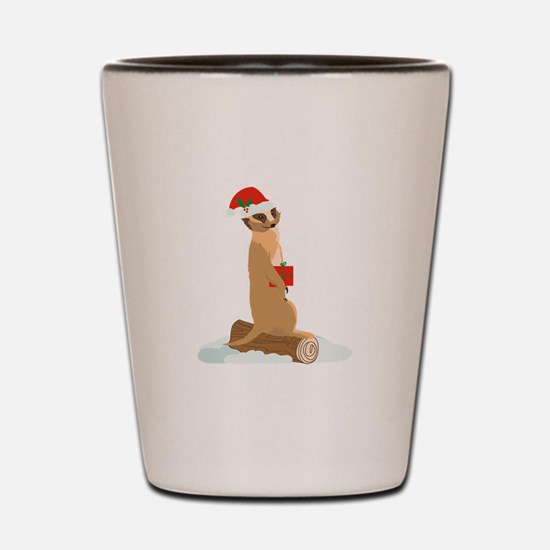 Christmas Meerkat Shot Glass