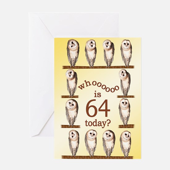 64th birthday with curious owls. Greeting Cards