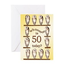 50th birthday with curious owls. Greeting Cards