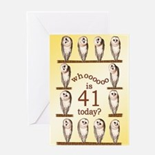 41st birthday with curious owls. Greeting Cards