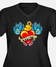 Unique Blue heart Women's Plus Size V-Neck Dark T-Shirt