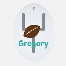 Personalized Football Goal Ornament (Oval)