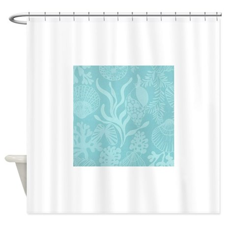 Blue Undersea Coral Shells Shower Curtain By NauticalLittleTreasures