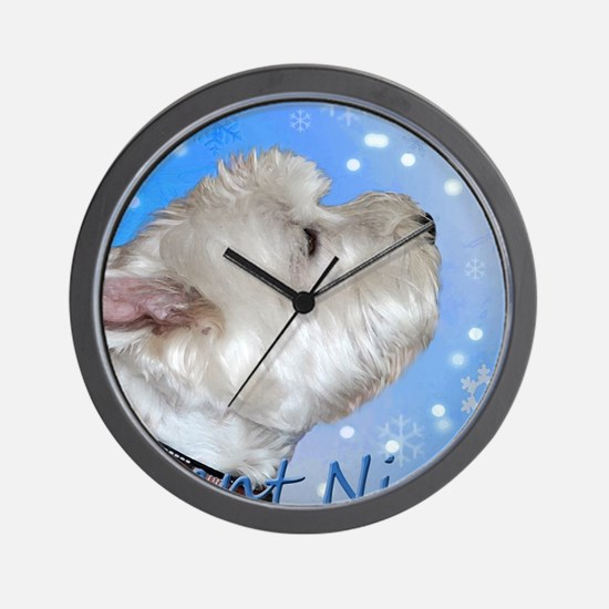 Silent Night with Westie Wall Clock