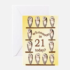 21st birthday with curious owls. Greeting Cards
