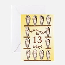 13th birthday with curious owls. Greeting Cards
