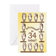 34th birthday with curious owls. Greeting Cards