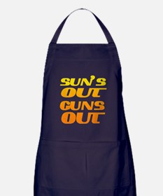 sun's out guns out fitness and gym Apron (dark)