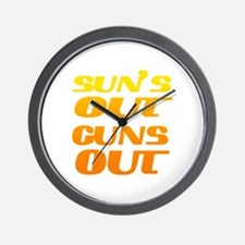 sun's out guns out fitness and gym Wall Clock