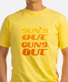 sun's out guns out fitness and gym T