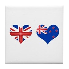 Brit Kiwi Flag Hearts Tile Coaster