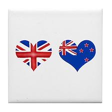 Brit Kiwi Flag Hearts Tile Coaster