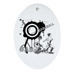 Grunge Baseball Oval Ornament