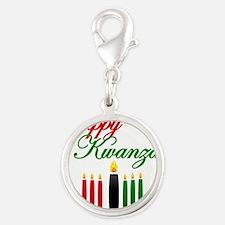 Fancy Happy Kwanzaa with hand drawn kinara Charms