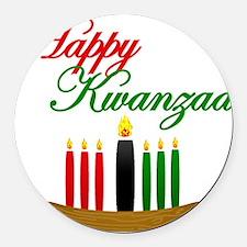 Fancy Happy Kwanzaa with hand drawn kinara Round C