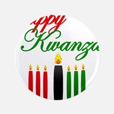 "Fancy Happy Kwanzaa with hand drawn kinara 3.5"" Bu"