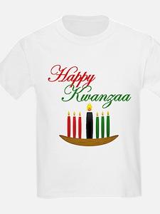 Fancy Happy Kwanzaa with hand drawn kinara T-Shirt