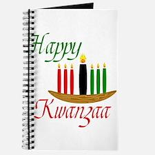 Fancy Happy Kwanzaa with hand drawn kinara Journal