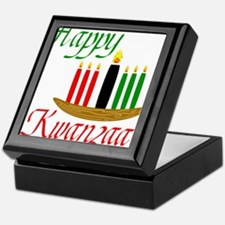 Fancy Happy Kwanzaa with hand drawn kinara Keepsak