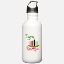 Fancy Happy Kwanzaa with hand drawn kinara Water B