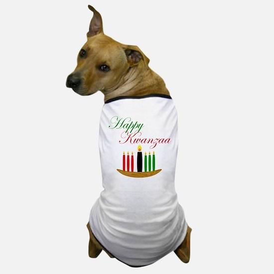 Elegant Happy Kwanzaa with hand drawn kinara Dog T
