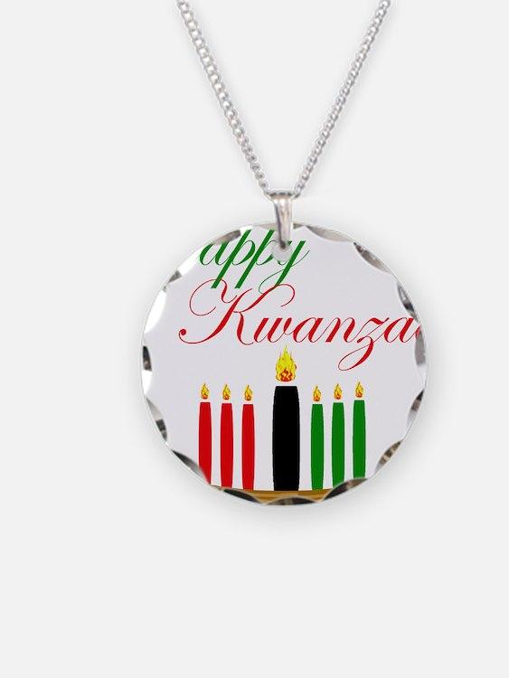 Elegant Happy Kwanzaa with hand drawn kinara Neckl