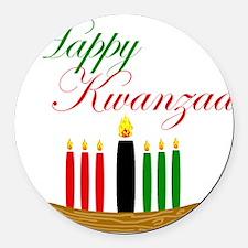 Elegant Happy Kwanzaa with hand drawn kinara Round