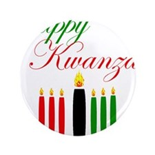 Elegant Happy Kwanzaa with hand drawn kinara 3.5""