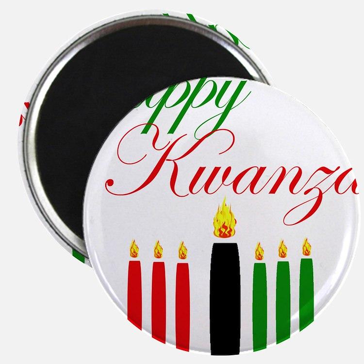 Elegant Happy Kwanzaa with hand drawn kinara Magne