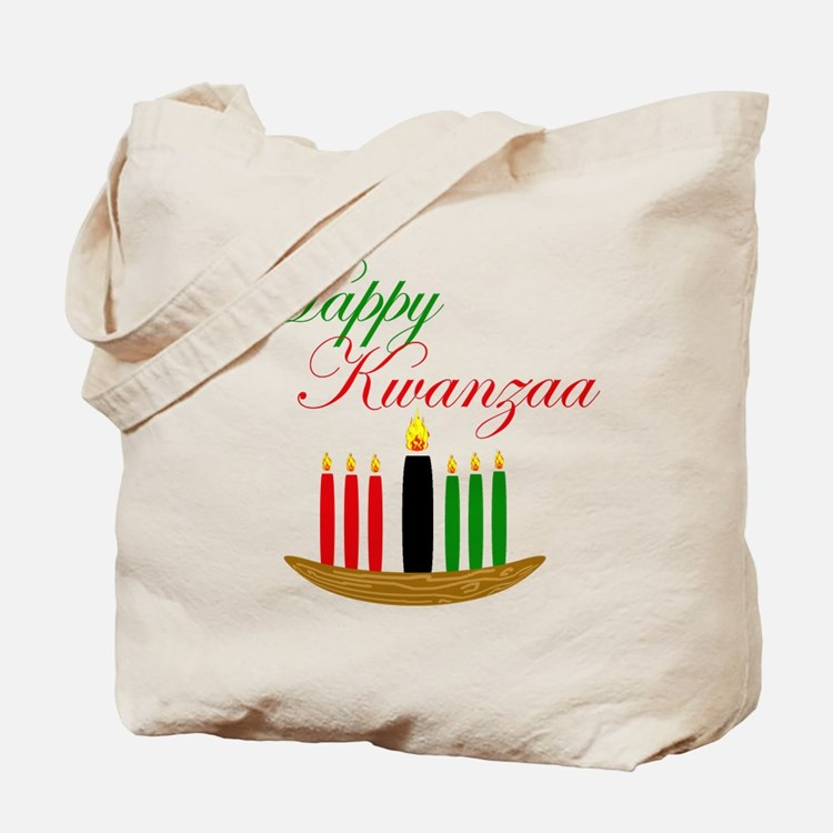 Elegant Happy Kwanzaa with hand drawn kinara Tote