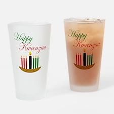 Elegant Happy Kwanzaa with hand drawn kinara Drink