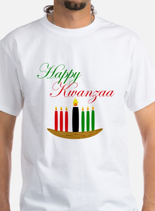 Elegant Happy Kwanzaa with hand drawn kinara T-Shi