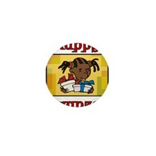 Girl Happy Kwanzaa with gifts.png Mini Button (100