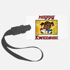 Girl Happy Kwanzaa with gifts.png Luggage Tag